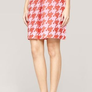 J Crew Pink Pixelated Houndstooth Mini Skirt